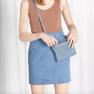 & Other Stories blue denim high waisted mini skirt